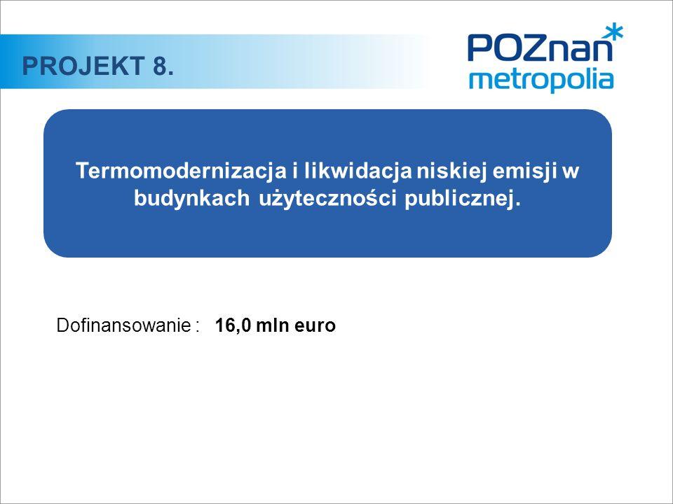 Dofinansowanie :16,0 mln euro PROJEKT 8. Termomodernizacja i likwidacja niskiej emisji w budynkach użyteczności publicznej.