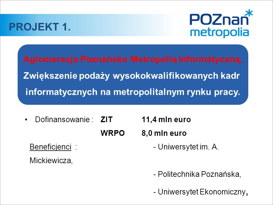 Dofinansowanie :ZIT 11,4 mln euro WRPO 8,0 mln euro Beneficjenci :- Uniwersytet im. A. Mickiewicza, - Politechnika Poznańska, - Uniwersytet Ekonomiczn