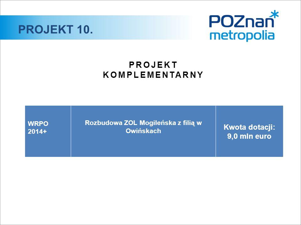 PROJEKT 10. PROJEKT KOMPLEMENTARNY WRPO 2014+ Rozbudowa ZOL Mogileńska z filią w Owińskach Kwota dotacji: 9,0 mln euro