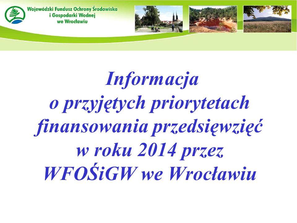 Informacja o przyjętych priorytetach finansowania przedsięwzięć w roku 2014 przez WFOŚiGW we Wrocławiu