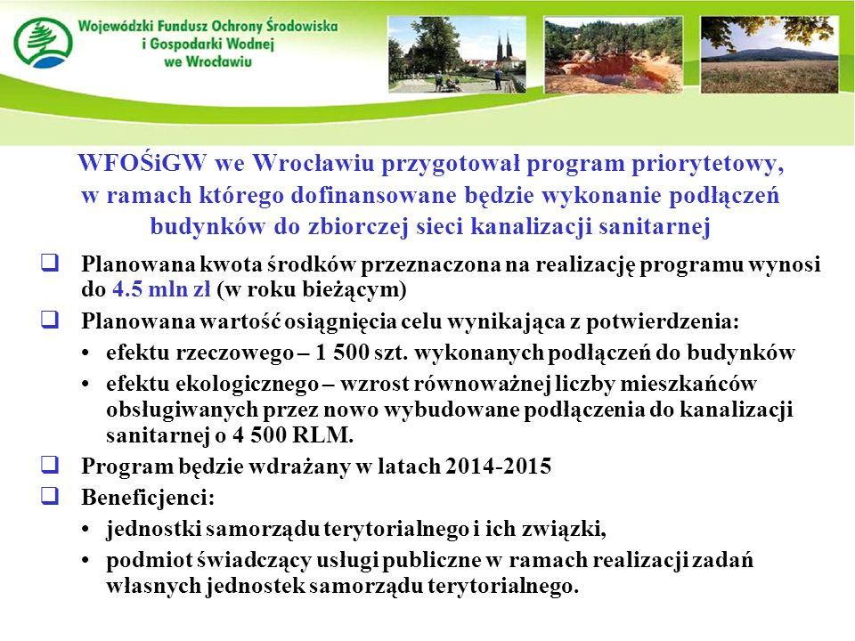 WFOŚiGW we Wrocławiu przygotował program priorytetowy, w ramach którego dofinansowane będzie wykonanie podłączeń budynków do zbiorczej sieci kanalizacji sanitarnej  Planowana kwota środków przeznaczona na realizację programu wynosi do 4.5 mln zł (w roku bieżącym)  Planowana wartość osiągnięcia celu wynikająca z potwierdzenia: efektu rzeczowego – 1 500 szt.