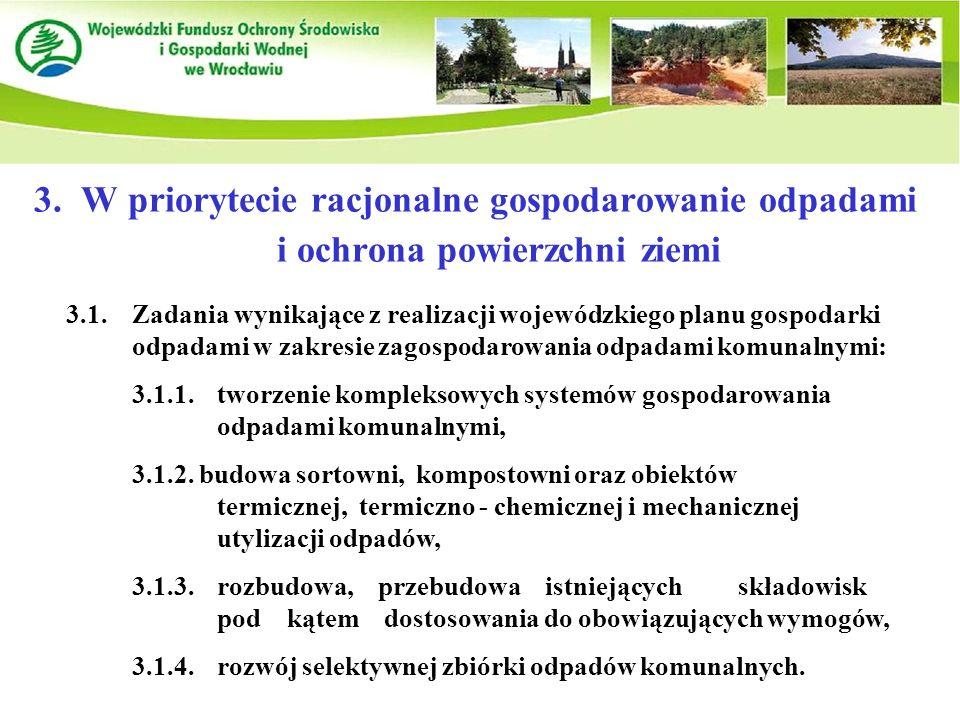 3.W priorytecie racjonalne gospodarowanie odpadami i ochrona powierzchni ziemi 3.1.