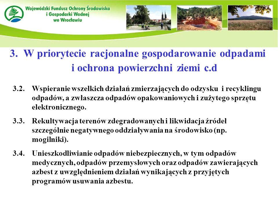 3.W priorytecie racjonalne gospodarowanie odpadami i ochrona powierzchni ziemi c.d 3.2.