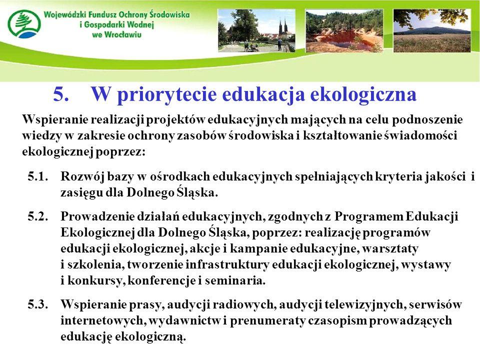 5. W priorytecie edukacja ekologiczna Wspieranie realizacji projektów edukacyjnych mających na celu podnoszenie wiedzy w zakresie ochrony zasobów środ