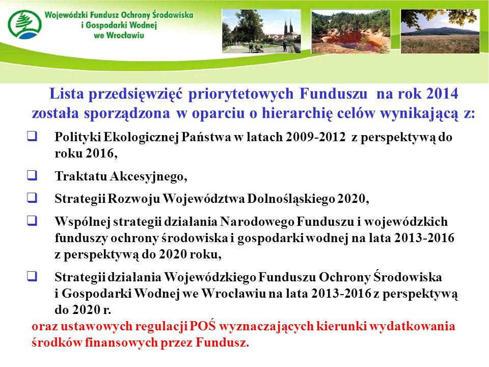 Lista przedsięwzięć priorytetowych Funduszu na rok 2014 została sporządzona w oparciu o hierarchię celów wynikającą z:  Polityki Ekologicznej Państwa w latach 2009-2012 z perspektywą do roku 2016,  Traktatu Akcesyjnego,  Strategii Rozwoju Województwa Dolnośląskiego 2020,  Wspólnej strategii działania Narodowego Funduszu i wojewódzkich funduszy ochrony środowiska i gospodarki wodnej na lata 2013-2016 z perspektywą do 2020 roku,  Strategii działania Wojewódzkiego Funduszu Ochrony Środowiska i Gospodarki Wodnej we Wrocławiu na lata 2013-2016 z perspektywą do 2020 r.
