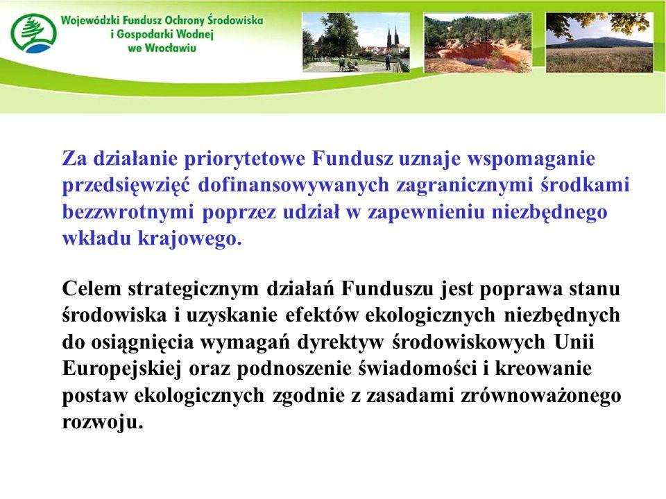 Za działanie priorytetowe Fundusz uznaje wspomaganie przedsięwzięć dofinansowywanych zagranicznymi środkami bezzwrotnymi poprzez udział w zapewnieniu niezbędnego wkładu krajowego.