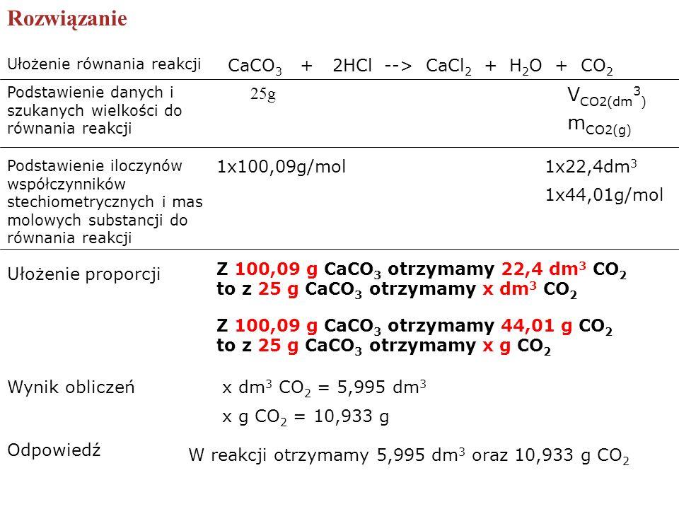 CaCO 3 + 2HCl --> CaCl 2 + H 2 O + CO 2 Rozwiązanie Ułożenie równania reakcji Podstawienie danych i szukanych wielkości do równania reakcji 25g V CO2(
