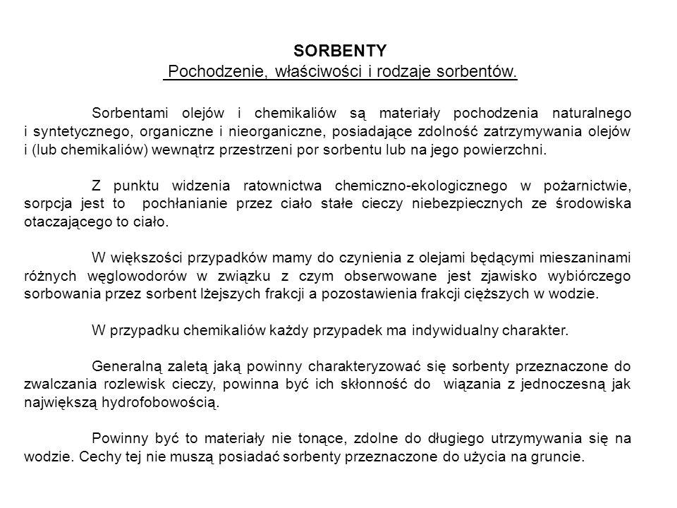 SORBENTY Pochodzenie, właściwości i rodzaje sorbentów. Sorbentami olejów i chemikaliów są materiały pochodzenia naturalnego i syntetycznego, organiczn