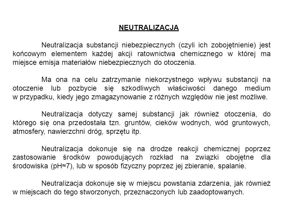 NEUTRALIZACJA Neutralizacja substancji niebezpiecznych (czyli ich zobojętnienie) jest końcowym elementem każdej akcji ratownictwa chemicznego w której