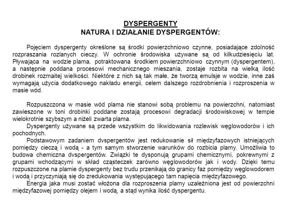 DYSPERGENTY NATURA I DZIAŁANIE DYSPERGENTÓW: Pojęciem dyspergenty określone są środki powierzchniowo czynne, posiadające zdolność rozpraszania rozlany