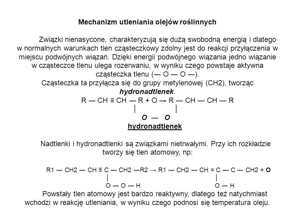 Mechanizm utleniania olejów roślinnych Związki nienasycone, charakteryzują się dużą swobodną energią i dlatego w normalnych warunkach tlen cząsteczkow