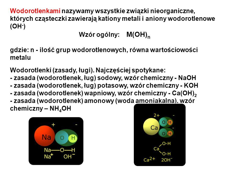 Wodorotlenkami nazywamy wszystkie związki nieorganiczne, których cząsteczki zawierają kationy metali i aniony wodorotlenowe (OH - ) Wzór ogólny: M(OH)