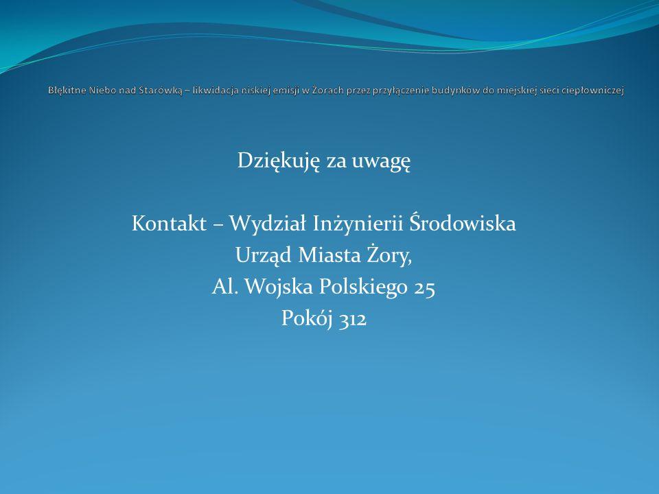 Dziękuję za uwagę Kontakt – Wydział Inżynierii Środowiska Urząd Miasta Żory, Al. Wojska Polskiego 25 Pokój 312