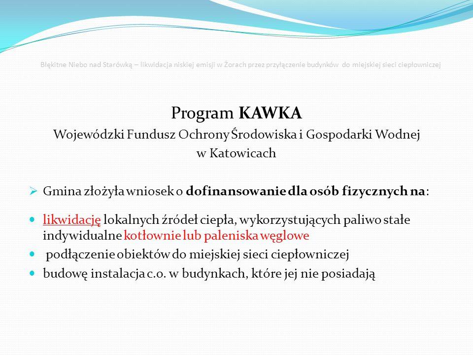 Błękitne Niebo nad Starówką – likwidacja niskiej emisji w Żorach przez przyłączenie budynków do miejskiej sieci ciepłowniczej Program KAWKA Wojewódzki