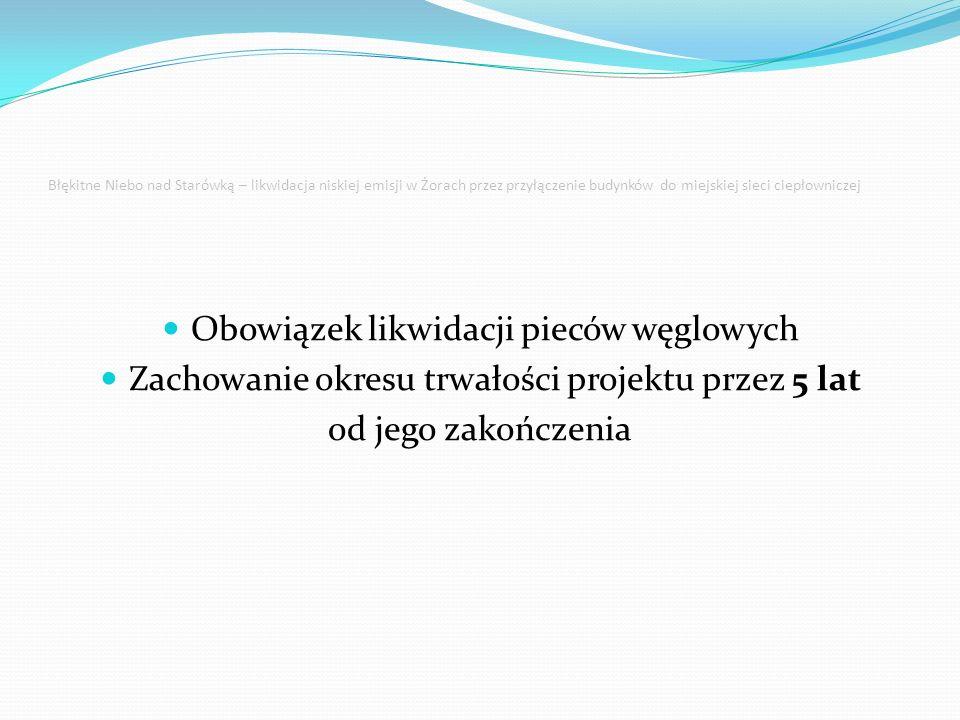 Błękitne Niebo nad Starówką – likwidacja niskiej emisji w Żorach przez przyłączenie budynków do miejskiej sieci ciepłowniczej Obowiązek likwidacji pieców węglowych Zachowanie okresu trwałości projektu przez 5 lat od jego zakończenia