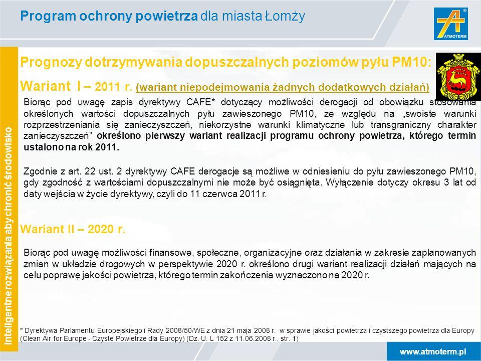www.atmoterm.pl Inteligentne rozwiązania aby chronić środowisko Prognozy dotrzymywania dopuszczalnych poziomów pyłu PM10: Wariant I – 2011 r.