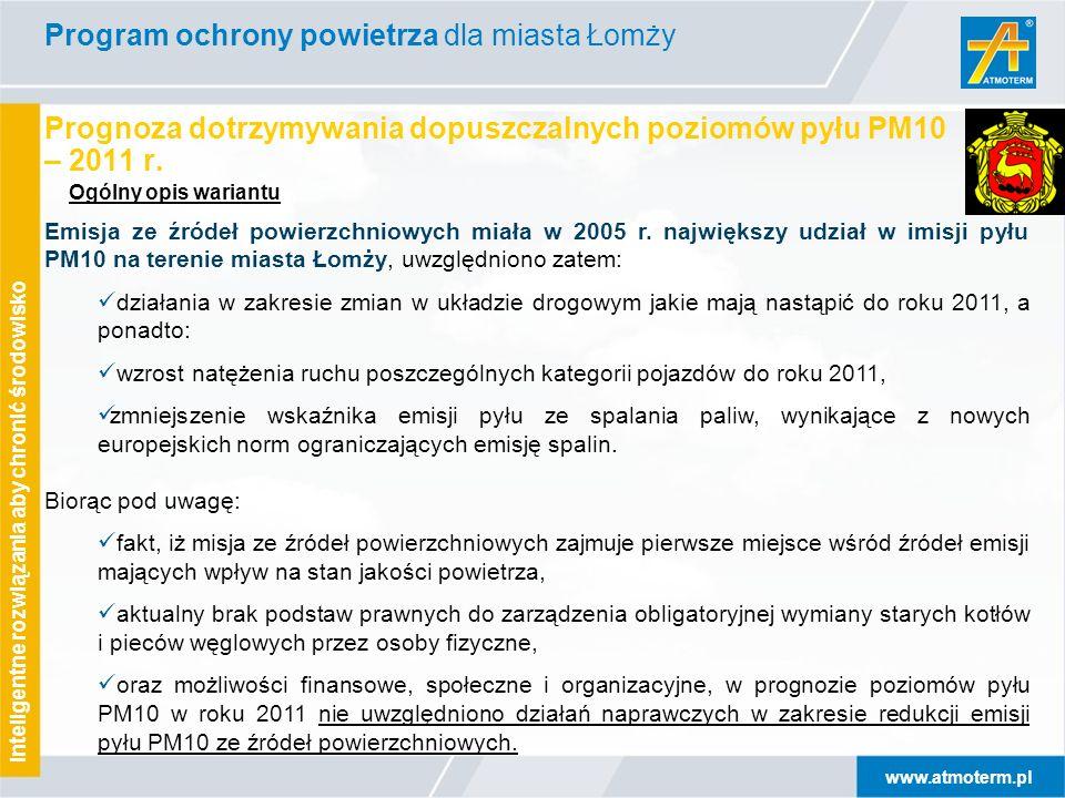 www.atmoterm.pl Inteligentne rozwiązania aby chronić środowisko Prognoza dotrzymywania dopuszczalnych poziomów pyłu PM10 – 2011 r.