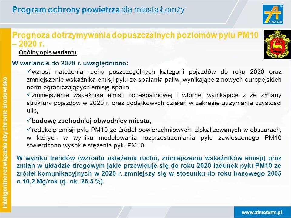 www.atmoterm.pl Inteligentne rozwiązania aby chronić środowisko Prognoza dotrzymywania dopuszczalnych poziomów pyłu PM10 – 2020 r.