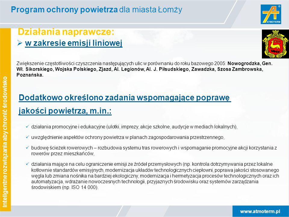 www.atmoterm.pl Inteligentne rozwiązania aby chronić środowisko Działania naprawcze: Program ochrony powietrza dla miasta Łomży  w zakresie emisji liniowej Zwiększenie częstotliwości czyszczenia następujących ulic w porównaniu do roku bazowego 2005: Nowogrodzka, Gen.
