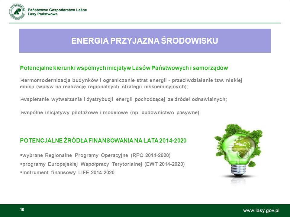 10 ENERGIA PRZYJAZNA ŚRODOWISKU Możliwości wspólnych inicjatyw Lasów Państwowych i samorządów: Potencjalne kierunki wspólnych inicjatyw Lasów Państwowych i samorządów  termomodernizacja budynków i ograniczanie strat energii - przeciwdziałanie tzw.