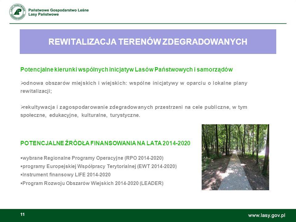 11 REWITALIZACJA TERENÓW ZDEGRADOWANYCH Możliwości wspólnych inicjatyw Lasów Państwowych i samorządów: Potencjalne kierunki wspólnych inicjatyw Lasów Państwowych i samorządów  odnowa obszarów miejskich i wiejskich: wspólne inicjatywy w oparciu o lokalne plany rewitalizacji;  rekultywacja i zagospodarowanie zdegradowanych przestrzeni na cele publiczne, w tym społeczne, edukacyjne, kulturalne, turystyczne.