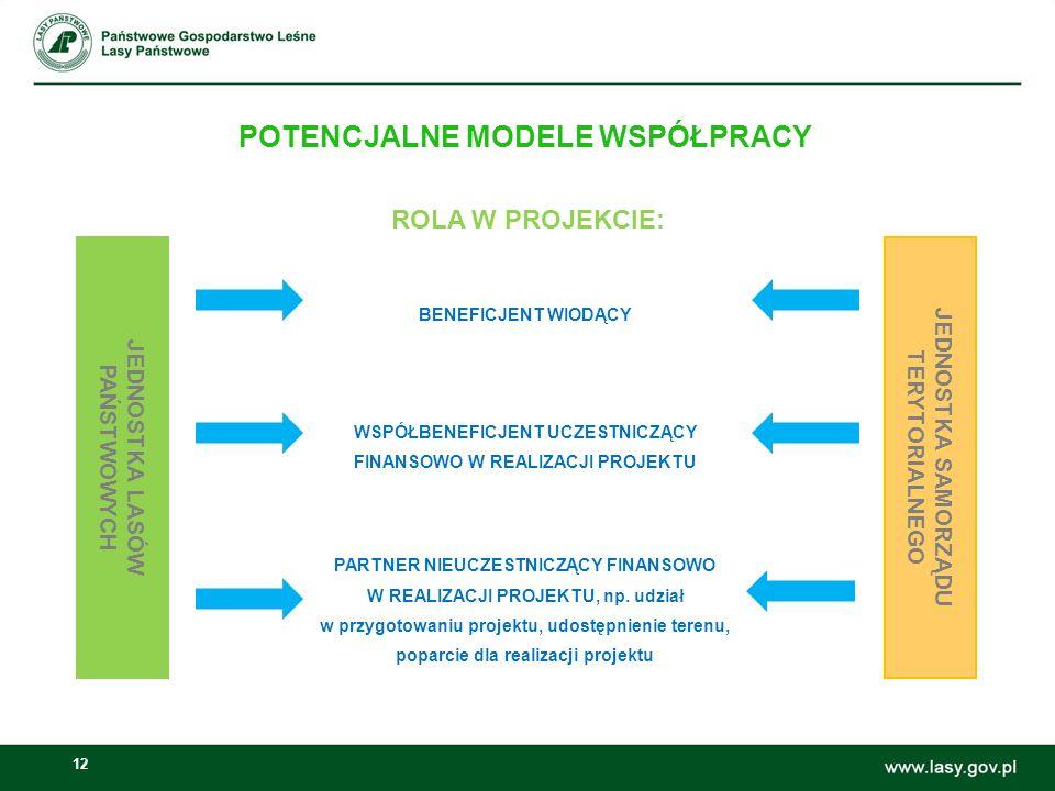 12 Możliwości wspólnych inicjatyw Lasów Państwowych i samorządów: POTENCJALNE MODELE WSPÓŁPRACY ROLA W PROJEKCIE: BENEFICJENT WIODĄCY WSPÓŁBENEFICJENT UCZESTNICZĄCY FINANSOWO W REALIZACJI PROJEKTU PARTNER NIEUCZESTNICZĄCY FINANSOWO W REALIZACJI PROJEKTU, np.