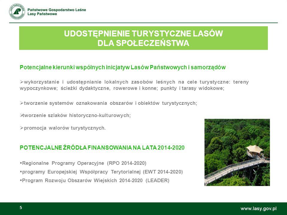 5 UDOSTĘPNIENIE TURYSTYCZNE LASÓW DLA SPOŁECZEŃSTWA Możliwości wspólnych inicjatyw Lasów Państwowych i samorządów: Potencjalne kierunki wspólnych inicjatyw Lasów Państwowych i samorządów  wykorzystanie i udostępnianie lokalnych zasobów leśnych na cele turystyczne: tereny wypoczynkowe; ścieżki dydaktyczne, rowerowe i konne; punkty i tarasy widokowe;  tworzenie systemów oznakowania obszarów i obiektów turystycznych;  tworzenie szlaków historyczno-kulturowych;  promocja walorów turystycznych.