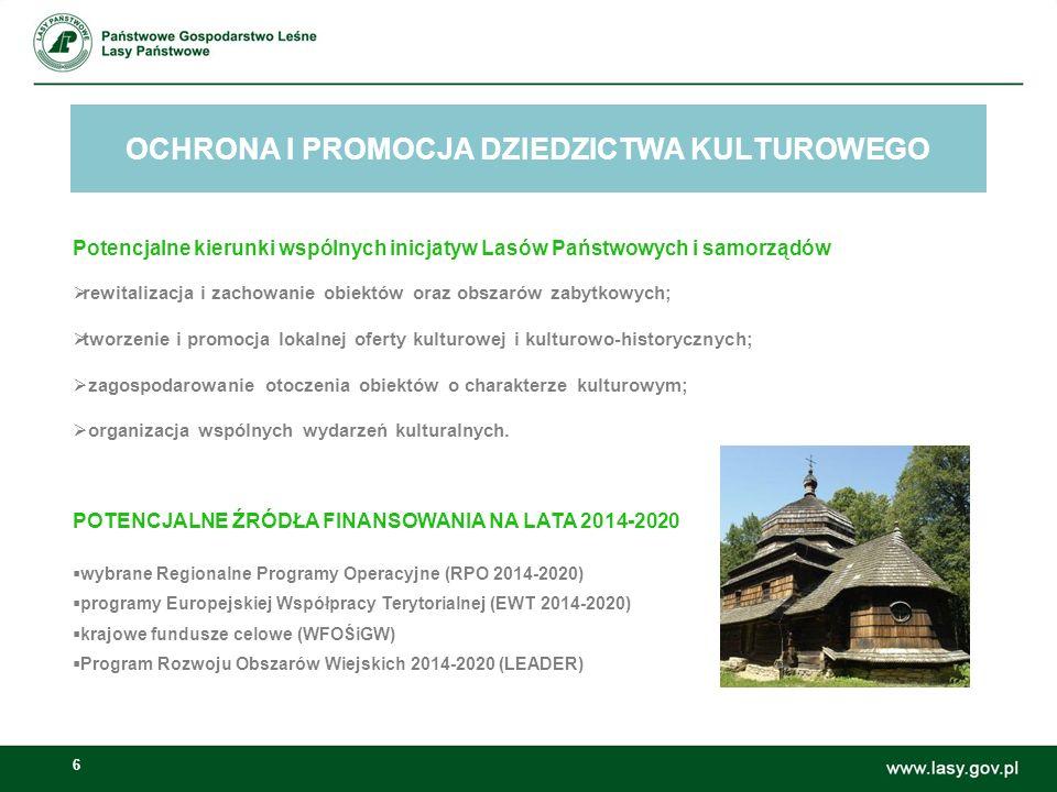 6 OCHRONA I PROMOCJA DZIEDZICTWA KULTUROWEGO Możliwości wspólnych inicjatyw Lasów Państwowych i samorządów: Potencjalne kierunki wspólnych inicjatyw Lasów Państwowych i samorządów  rewitalizacja i zachowanie obiektów oraz obszarów zabytkowych;  tworzenie i promocja lokalnej oferty kulturowej i kulturowo-historycznych;  zagospodarowanie otoczenia obiektów o charakterze kulturowym;  organizacja wspólnych wydarzeń kulturalnych.