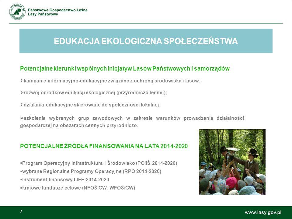 7 EDUKACJA EKOLOGICZNA SPOŁECZEŃSTWA Możliwości wspólnych inicjatyw Lasów Państwowych i samorządów: Potencjalne kierunki wspólnych inicjatyw Lasów Państwowych i samorządów  kampanie informacyjno-edukacyjne związane z ochroną środowiska i lasów;  rozwój ośrodków edukacji ekologicznej (przyrodniczo-leśnej);  działania edukacyjne skierowane do społeczności lokalnej;  szkolenia wybranych grup zawodowych w zakresie warunków prowadzenia działalności gospodarczej na obszarach cennych przyrodniczo.