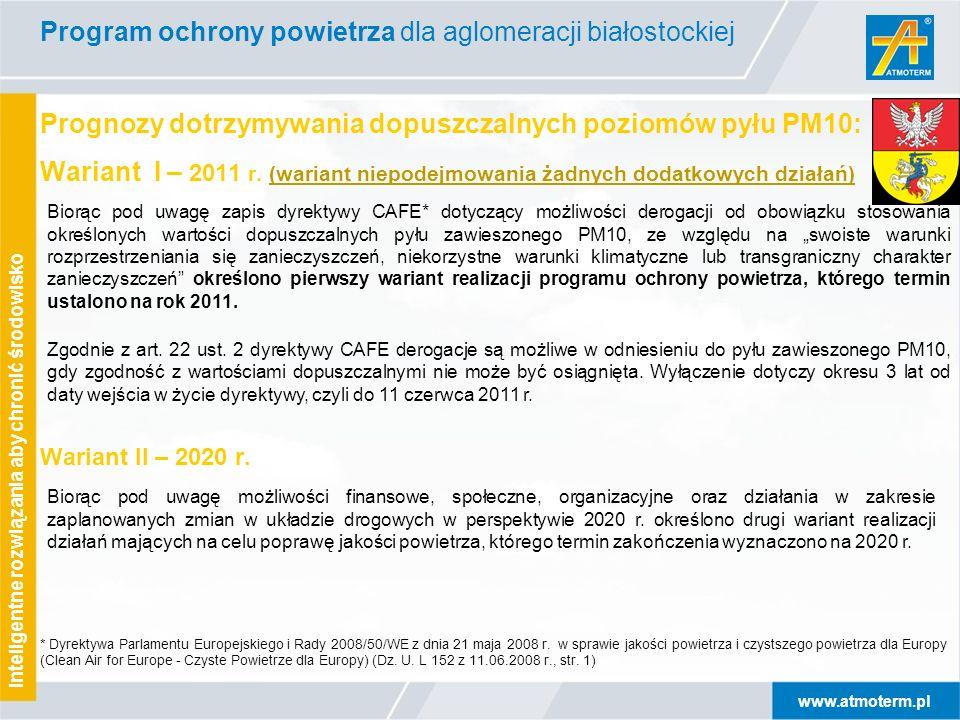 www.atmoterm.pl Inteligentne rozwiązania aby chronić środowisko Prognozy dotrzymywania dopuszczalnych poziomów pyłu PM10: Wariant I – 2011 r. (wariant