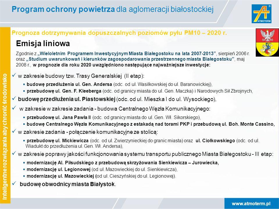 www.atmoterm.pl Inteligentne rozwiązania aby chronić środowisko Prognoza dotrzymywania dopuszczalnych poziomów pyłu PM10 – 2020 r. Program ochrony pow