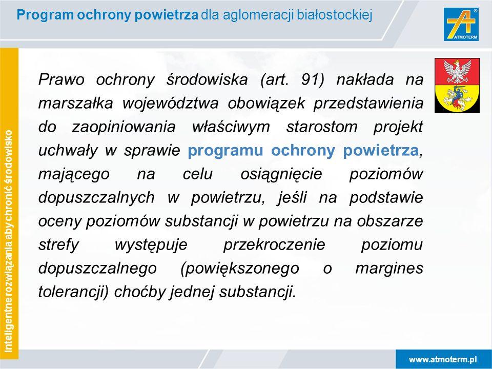 www.atmoterm.pl Inteligentne rozwiązania aby chronić środowisko Na podstawie oceny poziomów substancji w powietrzu, w mieście Białystok, przeprowadzonej dla roku 2005, stwierdzono przekroczenia dopuszczalnego poziomu stężenia 24-godzinnego* * Częstość przekroczeń poziomu dopuszczalnego była większa od częstości dopuszczalnej dla 24h: 35 dni w roku pyłu PM10 Kwalifikowało to aglomerację białostocką do wykonania Programu ochrony powietrza Program ochrony powietrza dla aglomeracji białostockiej