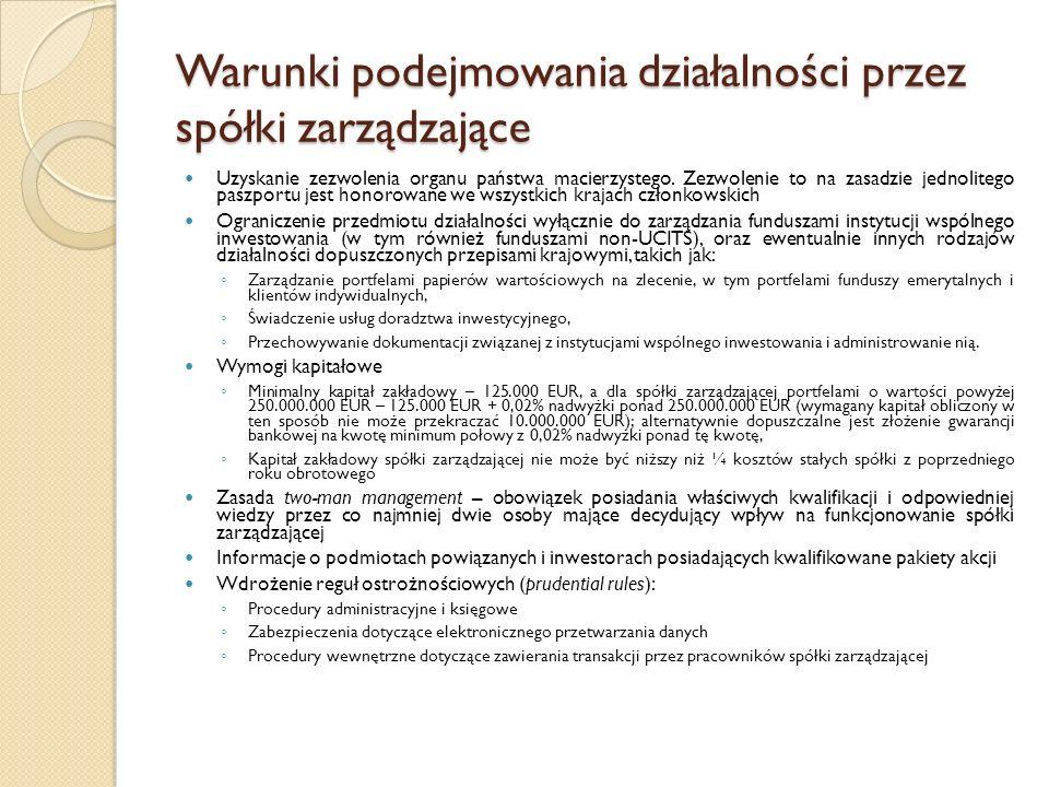 Warunki podejmowania działalności przez spółki zarządzające Uzyskanie zezwolenia organu państwa macierzystego.