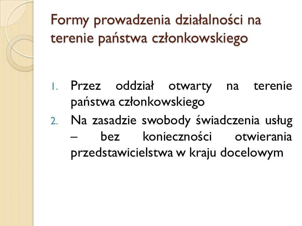 Formy prowadzenia działalności na terenie państwa członkowskiego 1.