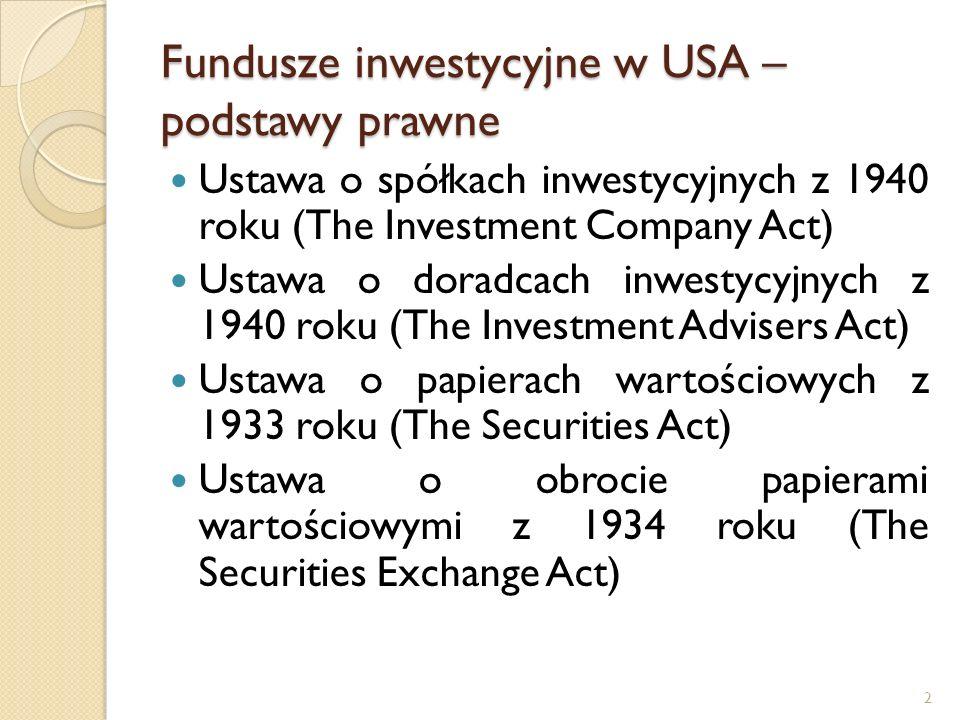 2 Fundusze inwestycyjne w USA – podstawy prawne Ustawa o spółkach inwestycyjnych z 1940 roku (The Investment Company Act) Ustawa o doradcach inwestycyjnych z 1940 roku (The Investment Advisers Act) Ustawa o papierach wartościowych z 1933 roku (The Securities Act) Ustawa o obrocie papierami wartościowymi z 1934 roku (The Securities Exchange Act)