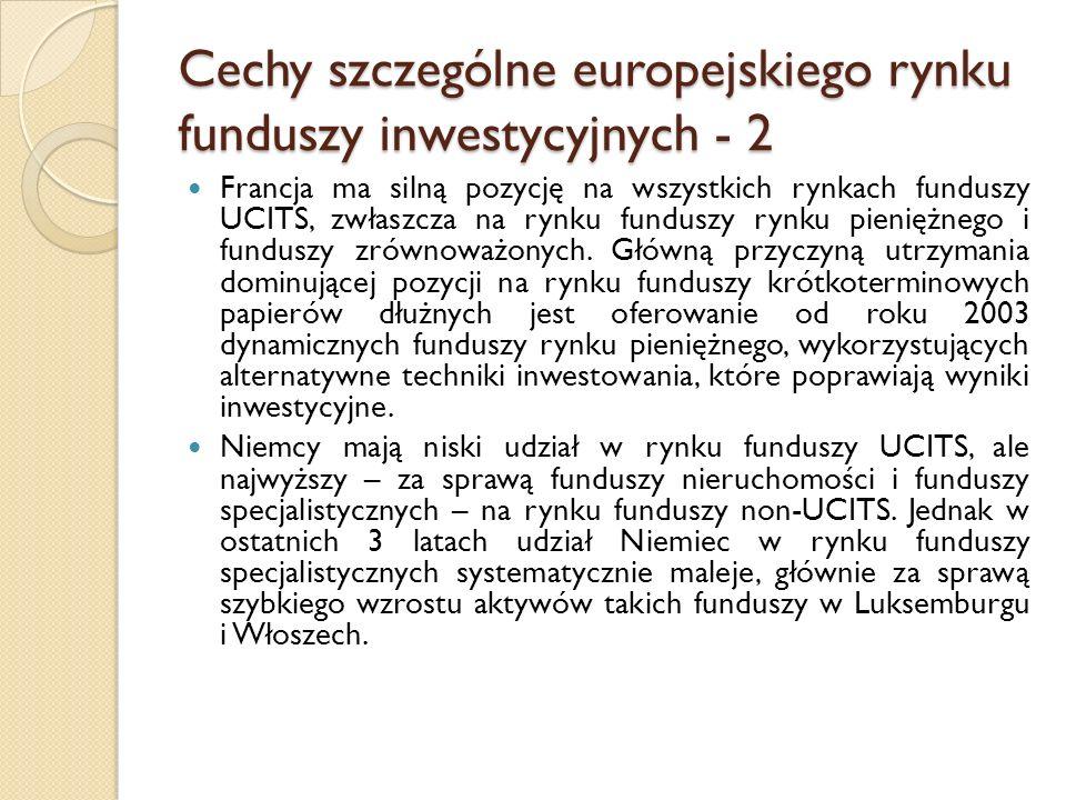 Cechy szczególne europejskiego rynku funduszy inwestycyjnych - 2 Francja ma silną pozycję na wszystkich rynkach funduszy UCITS, zwłaszcza na rynku funduszy rynku pieniężnego i funduszy zrównoważonych.