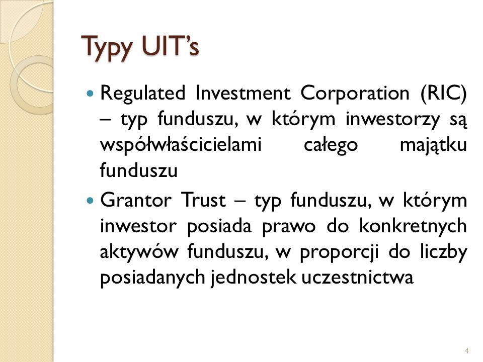 Limity inwestycyjne Ogólna zasada: zakaz inwestowania w jeden rodzaj papierów wartościowych więcej niż 5% aktywów danego funduszu, przy znacznej swobodzie dostosowania tego limitu do wewnętrznych, krajowych katalogów papierów wartościowych: W przypadku zbywalnych papierów wartościowych i instrumentów rynku pieniężnego limit może być podniesiony do 10%, jednak łączna wartość takich lokat nie może przekraczać 40% wartości aktywów danego funduszu, Limit 5% może być podniesiony nawet do 35% aktywów, gdy przedmiotem są inwestycje w dłużne papiery wartościowe emitowane lub gwarantowane przez państwo, Limit 5% może być podniesiony do 25% aktywów, gdy przedmiotem lokat są dłużne papiery wartościowe podlegające specjalnym regulacjom dotyczącym zabezpieczenia interesów ich posiadaczy (np.