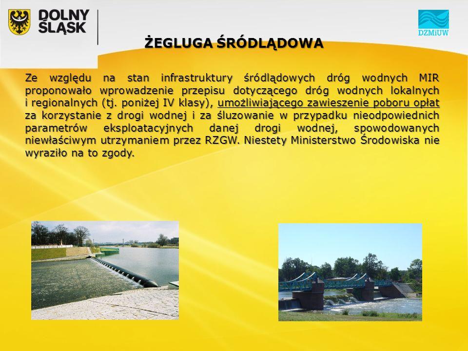 ŻEGLUGA ŚRÓDLĄDOWA Ze względu na stan infrastruktury śródlądowych dróg wodnych MIR proponowało wprowadzenie przepisu dotyczącego dróg wodnych lokalnych i regionalnych (tj.