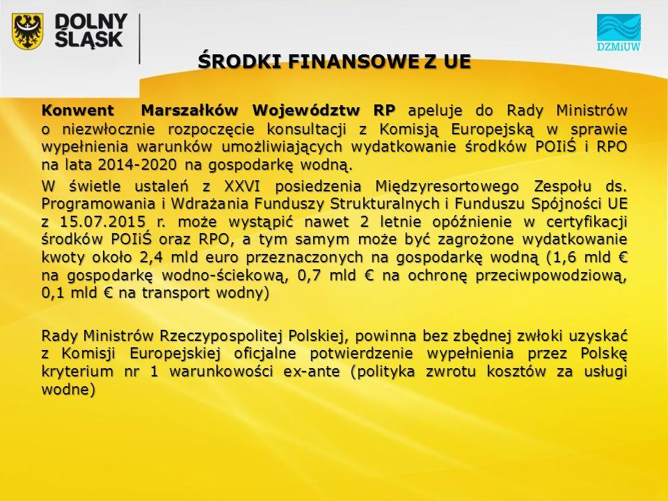 ŚRODKI FINANSOWE Z UE Konwent Marszałków Województw RP apeluje do Rady Ministrów o niezwłocznie rozpoczęcie konsultacji z Komisją Europejską w sprawie wypełnienia warunków umożliwiających wydatkowanie środków POIiŚ i RPO na lata 2014-2020 na gospodarkę wodną.