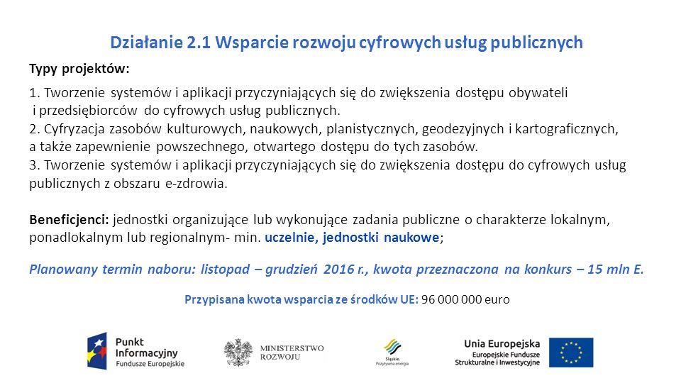 Działanie 2.1 Wsparcie rozwoju cyfrowych usług publicznych Typy projektów: 1.