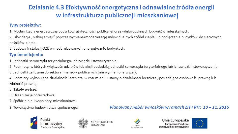 Działanie 4.3 Efektywność energetyczna i odnawialne źródła energii w infrastrukturze publicznej i mieszkaniowej Typy projektów: 1.