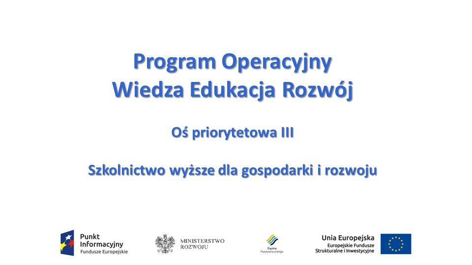 Program Operacyjny Wiedza Edukacja Rozwój Oś priorytetowa III Szkolnictwo wyższe dla gospodarki i rozwoju