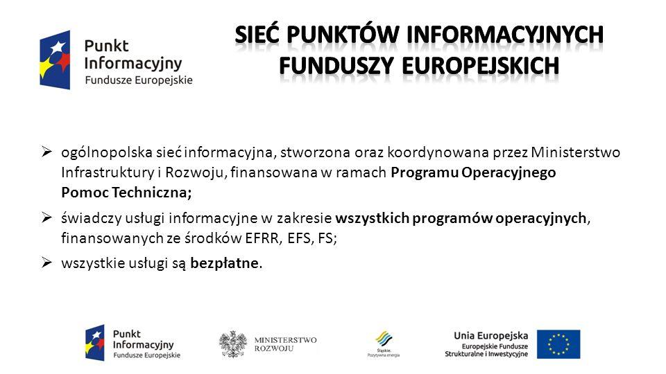  ogólnopolska sieć informacyjna, stworzona oraz koordynowana przez Ministerstwo Infrastruktury i Rozwoju, finansowana w ramach Programu Operacyjnego Pomoc Techniczna;  świadczy usługi informacyjne w zakresie wszystkich programów operacyjnych, finansowanych ze środków EFRR, EFS, FS;  wszystkie usługi są bezpłatne.