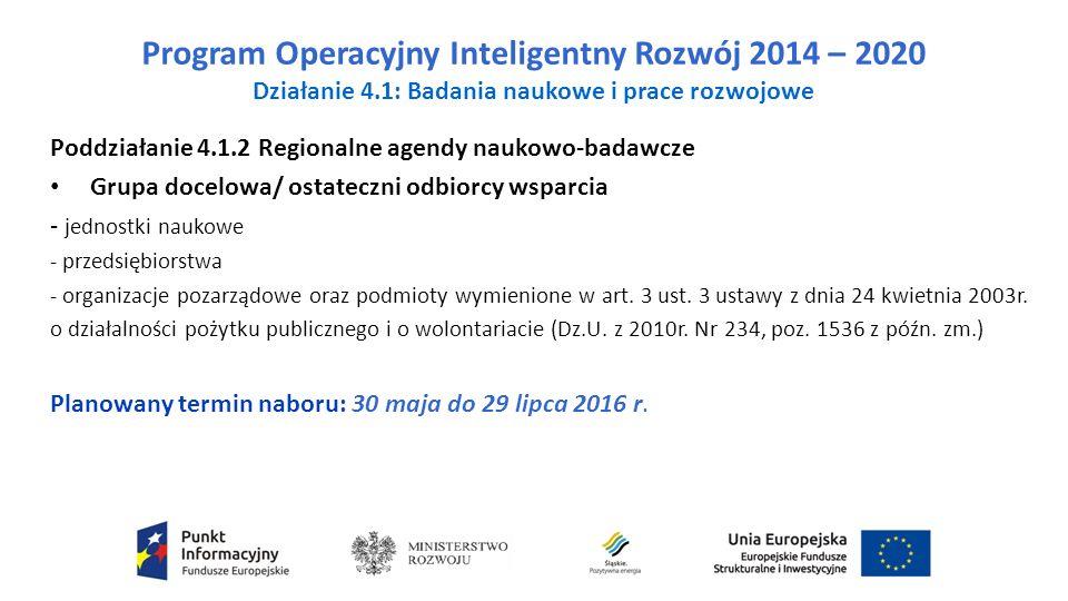 Program Operacyjny Inteligentny Rozwój 2014 – 2020 Działanie 4.1: Badania naukowe i prace rozwojowe Poddziałanie 4.1.2 Regionalne agendy naukowo-badawcze Grupa docelowa/ ostateczni odbiorcy wsparcia - jednostki naukowe - przedsiębiorstwa - organizacje pozarządowe oraz podmioty wymienione w art.