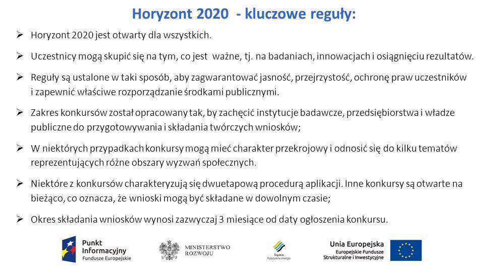 Horyzont 2020 - kluczowe reguły:  Horyzont 2020 jest otwarty dla wszystkich.