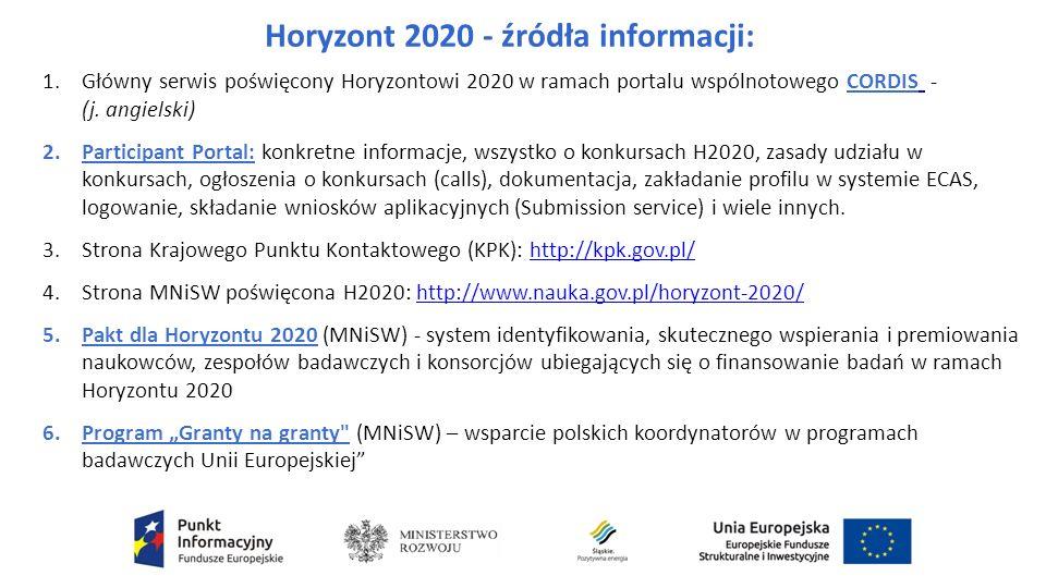 Horyzont 2020 - źródła informacji: 1.Główny serwis poświęcony Horyzontowi 2020 w ramach portalu wspólnotowego CORDIS - (j.