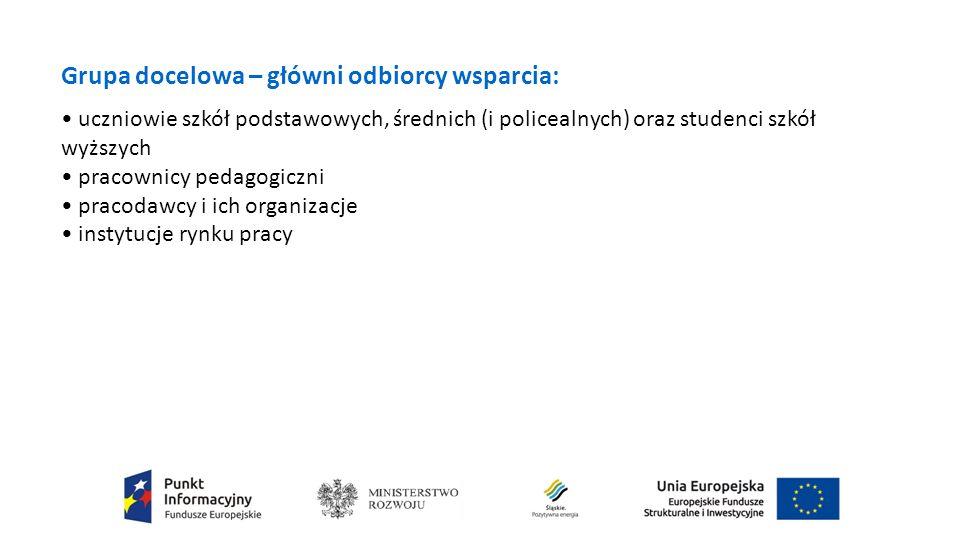 Grupa docelowa – główni odbiorcy wsparcia: uczniowie szkół podstawowych, średnich (i policealnych) oraz studenci szkół wyższych pracownicy pedagogiczni pracodawcy i ich organizacje instytucje rynku pracy