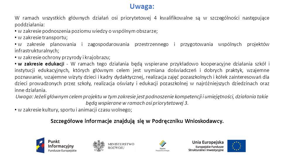 Uwaga: W ramach wszystkich głównych działań osi priorytetowej 4 kwalifikowalne są w szczególności następujące poddziałania: w zakresie podnoszenia poziomu wiedzy o wspólnym obszarze; w zakresie transportu; w zakresie planowania i zagospodarowania przestrzennego i przygotowania wspólnych projektów infrastrukturalnych; w zakresie ochrony przyrody i krajobrazu; w zakresie edukacji - W ramach tego działania będą wspierane przykładowo kooperacyjne działania szkół i instytucji edukacyjnych, których głównym celem jest wymiana doświadczeń i dobrych praktyk, wzajemne poznawanie, wzajemne wizyty dzieci i kadry dydaktycznej, realizacja zajęć pozaszkolnych i kółek zainteresowań dla dzieci prowadzonych przez szkoły, realizacja oświaty i edukacji pozaszkolnej w najróżniejszych dziedzinach oraz inne działania.