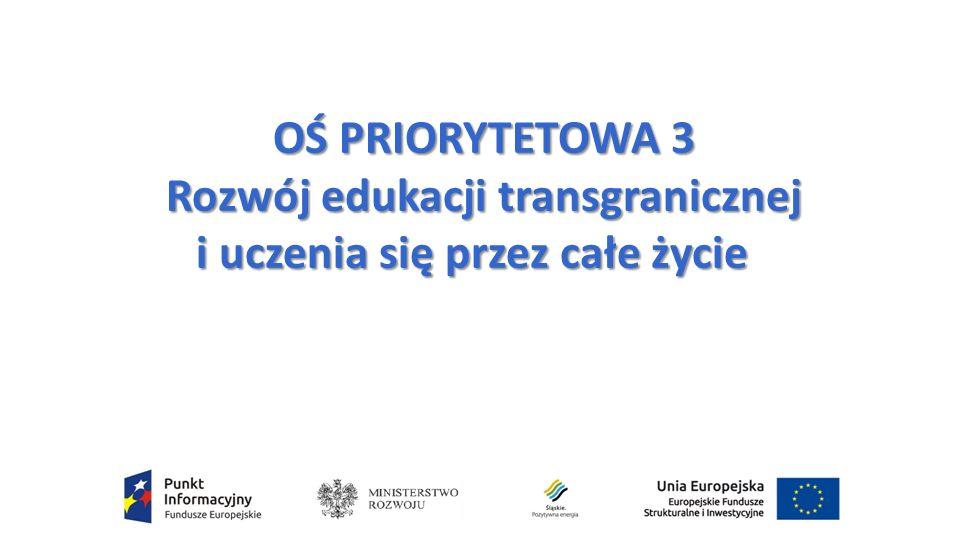 OŚ PRIORYTETOWA 3 Rozwój edukacji transgranicznej i uczenia się przez całe życie