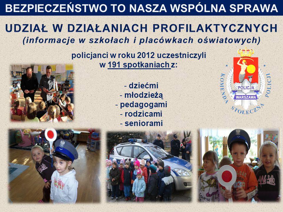 policjanci w roku 2012 uczestniczyli w 191 spotkaniach z: - dziećmi - młodzieżą - pedagogami - rodzicami - seniorami 20 BEZPIECZEŃSTWO TO NASZA WSPÓLNA SPRAWA